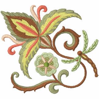 Floración y libélula jacobeas sudadera bordada con serigrafía