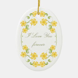 Floraciones amarillas de oro de la acuarela adorno ovalado de cerámica