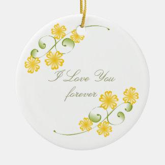 Floraciones amarillas de oro de la acuarela adorno redondo de cerámica