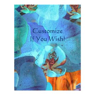 Floraciones azules brillantes de la cascada de la membretes personalizados