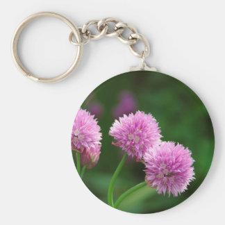 Floraciones de la cebolleta llavero redondo tipo pin