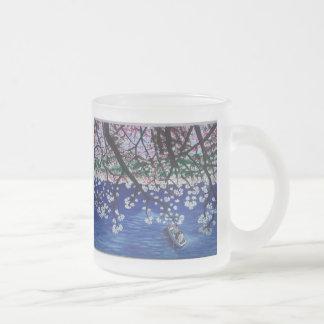 floraciones de la cereza taza de cristal