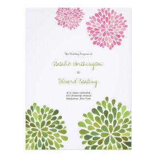Floraciones de la flor del verde del rosa del prog invitaciones personales