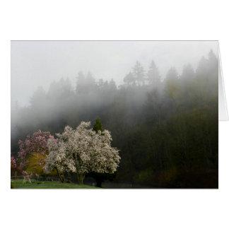 Floraciones de la primavera en tarjeta de nota de