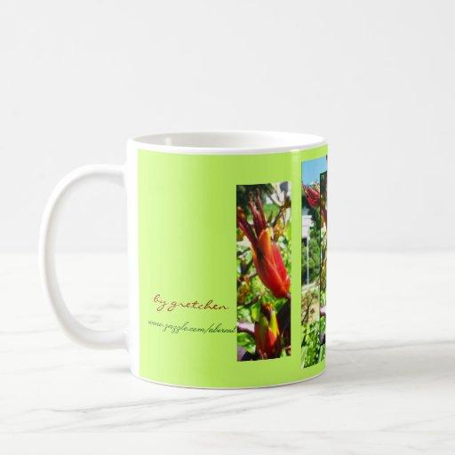 Floraciones de la taza anaranjada del café y del t
