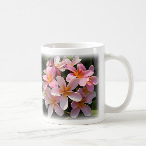 Floraciones de Pumeria con decir en dorso Tazas De Café