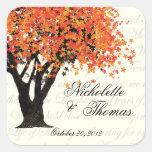 Floraciones del baile del árbol del otoño pegatinas cuadradas