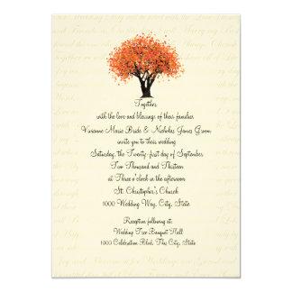 """Floraciones del baile del árbol del otoño y boda invitación 5"""" x 7"""""""