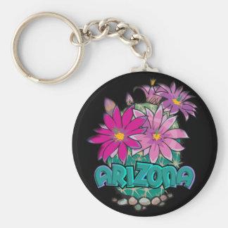 Floraciones del cactus de Arizona del diseño de AZ Llavero Redondo Tipo Pin