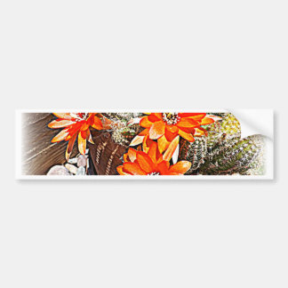 Floraciones del cactus de la cuerda pegatina de parachoque