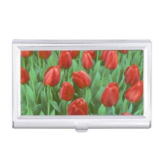 Floraciones del campo del tulipán en la primavera caja de tarjetas de presentación