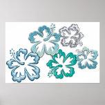 Floraciones del hibisco de la aguamarina posters