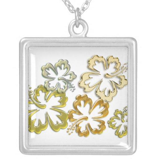 Floraciones del hibisco del oro collares personalizados