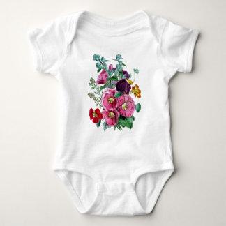 Floraciones del Hollyhock del vintage Body Para Bebé