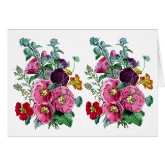 Floraciones del Hollyhock del vintage Felicitaciones