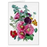 Floraciones del Hollyhock del vintage Tarjeta