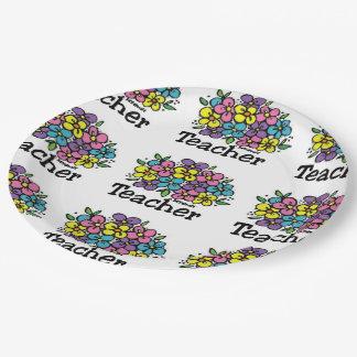 Floraciones del profesor plato de papel de 9 pulgadas