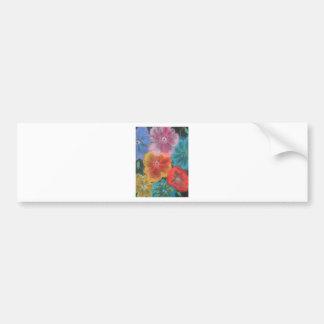 floraciones en colores pastel etiqueta de parachoque