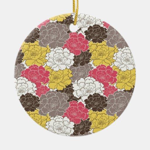 Floraciones florales hermosas adorno navideño redondo de cerámica