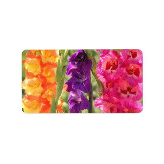 Floraciones hermosas del gladiolo etiqueta de dirección