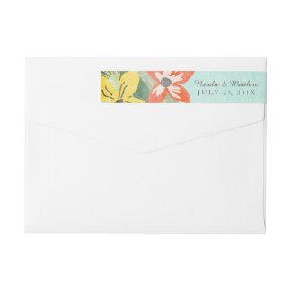 Floraciones hermosas que casan etiquetas/la etiquetas postales