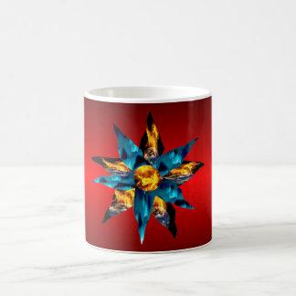 Floraciones pétalos ardientes de la tierra de la l taza
