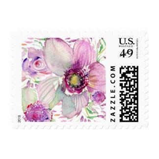 Floraciones púrpuras de la acuarela estampillas
