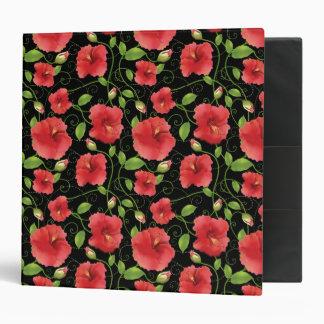 Floraciones rojas coloridas del hibisco en negro