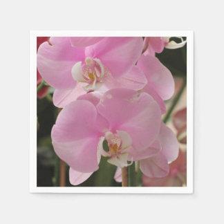 Floraciones rosadas de la orquídea servilletas de papel