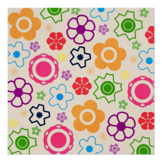 floral16 BRIGHT SUMMER FLOWERS COLORFUL PATTERN BA Print