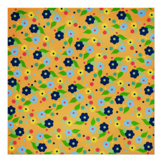 floral22 BRIGHT SUMMER FLOWERS COLORFUL PATTERN BA Poster
