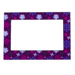 floral27-purple FLORAL FLOWERS PURPLE PINK PATTERN Magnetic Picture Frames