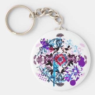 floral2 basic round button keychain
