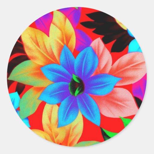 Floral2i1 Pegatina Redonda