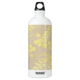 floral41 YELLOW NEUTRAL BEIGE FLORAL PATTERN BACKG Water Bottle