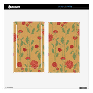 floral44 RED FLOWER PATTERN BROWN GREEN COUNTRY BA Skin For Kindle Fire