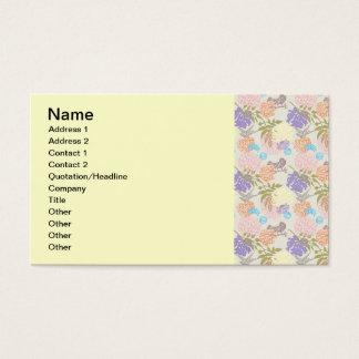 FLORAL63 FLOWER PATTERNS MAUVE LIGHT PINK GREEN BL BUSINESS CARD
