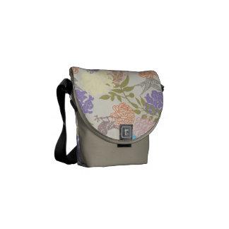 FLORAL63 FLOWER PATTERNS MAUVE LIGHT PINK GREEN BL MESSENGER BAG