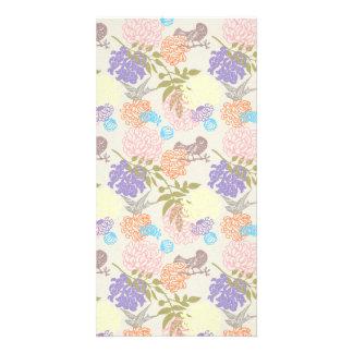 FLORAL63 FLOWER PATTERNS MAUVE LIGHT PINK GREEN BL CUSTOMIZED PHOTO CARD