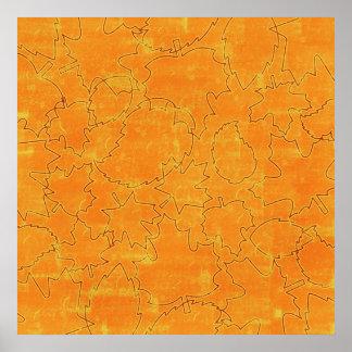 floral71-orange FLORAL ORANGES STRING ABSTRACT RAN Poster