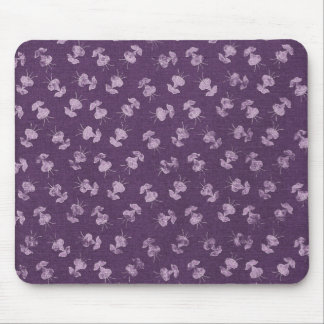 floral79 FLORAL PURPLE WHITE FLOWERS JELLYFISH PAT Mouse Pad