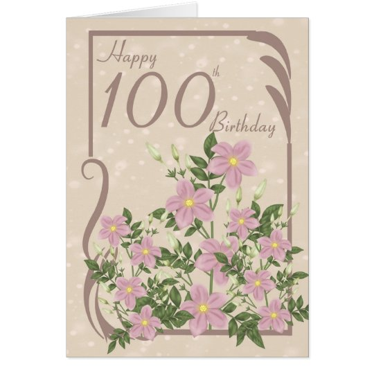 Floral 100th Birthday Greeting Card – 100th Birthday Greetings