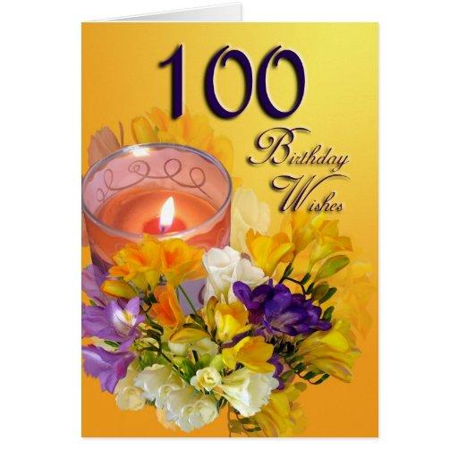 Floral 100th Birthday Wishes Birthday Card
