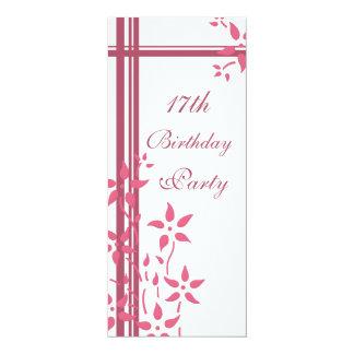 "Floral 17th Birthday Party Invitations 4"" X 9.25"" Invitation Card"