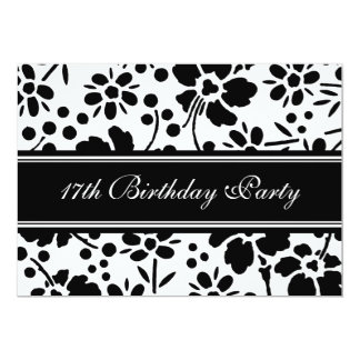Floral 17th Birthday Party Invitations