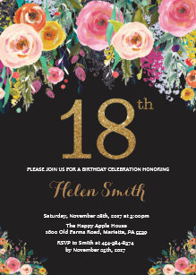 Elegant 18th Birthday Invitations Zazzle