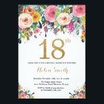 """Floral 18th Birthday Invitation Gold Glitter<br><div class=""""desc"""">Floral 18th Birthday Invitation for Women. Watercolor Floral Flower. Gold Glitter. Pink,  Yellow,  Orange,  Purple Flower. Adult Birthday. For further customization,  please click the """"Customize it"""" button and use our design tool to modify this template.</div>"""
