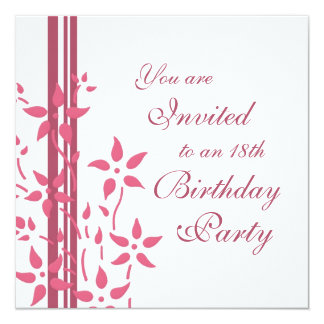 Floral 18th Birthday Party Invitations
