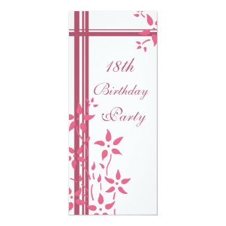 "Floral 18th Birthday Party Invitations 4"" X 9.25"" Invitation Card"