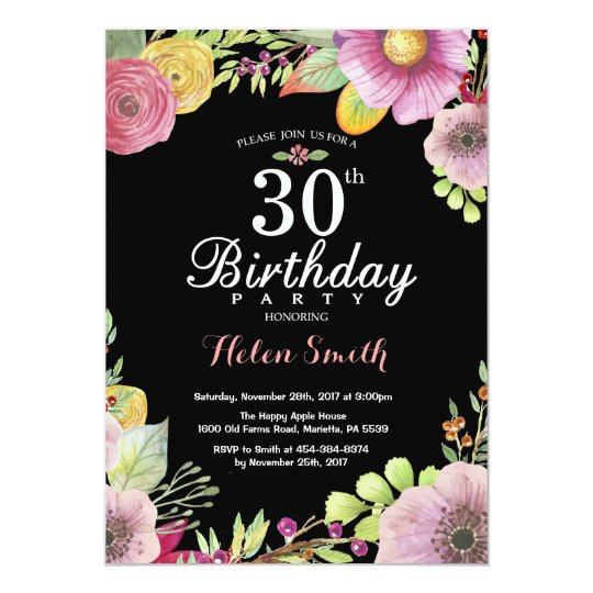 Floral 30th Birthday Invitation for Women